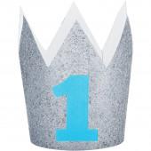 Coroa Glitter Prateada Nº1 Azul