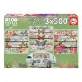 Deco Puzzle 3x500 peças  Jardim no Campo