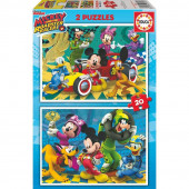 Educa - 2 Puzzles 20pcs Mickey Roadster Racers Disney