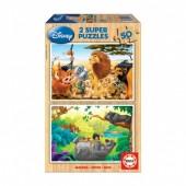 Educa - 2x Super Puzzle 50 Madeira Disney Animais