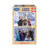 Educa - 2x Super Puzzle 50 Madeira Frozen Disney