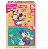 Educa 2X16 Puzzle madeira Minnie & The Happy Helpers