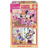Educa 2X25 Puzzle madeira Minnie & The Happy Helpers