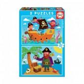 Educa - Puzzle Junior Piratas 2 x 20 pcs