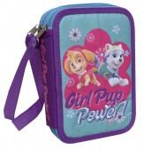 Estojo duplo c/ purpurina Patrulha Pata - Girl Pup Power