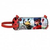 Estojo escolar cilíndrico Ladybug e Cat Noir