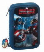Estojo escolar duplo c/ acess Marvel Capitão América Civil War