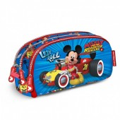 Estojo escolar oval triplo Mickey Racers - Let`s Roll