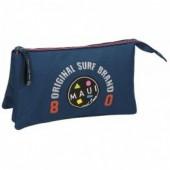 Estojo escolar triplo Azul escuro Maui & Sons - Surf