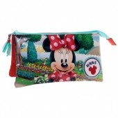 Estojo escolar triplo Disney Minnie Garden