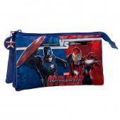 Estojo escolar triplo Marvel Iron Man vs Capitão América