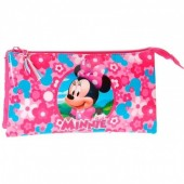 Estojo escolar triplo Minnie Disney - Pink
