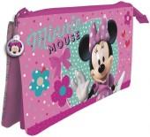 Estojo escolar triplo Minnie Disney
