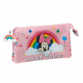 Estojo Triplo Minnie Rainbow