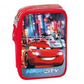 Estojo Triplo Plumier Cars Disney - Neon