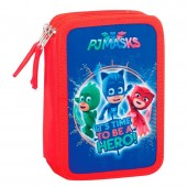 Estojo triplo Plumier Pjmasks - It´s time to be a hero!