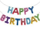 Faixa Banner de Balões Happy Birthday