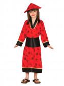 Fato Dama oriental vermelha para menina