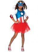 Fato de Capitã América com tule