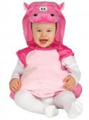 Fato de hipopótamo cor-de-rosa para bebé