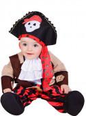 Fato de pirata vermelho bebé