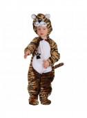 Fato de tigre castanho de peluche para bebé