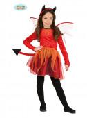 Fato Menina Diabólica com tule halloween