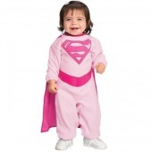 Fato Super Girl Rosa Bebé