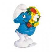 Figura Smurf  apaixonado com flores
