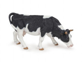 Figura Vaca Preta e Branca a Pastar Papo