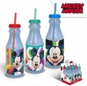 Garrafa Plástico c/ palhinha Mickey Disney 500ml - sortido