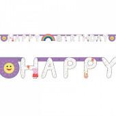 Grinalda Happy Birthday Porquinha Peppa Rainbow