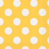 Guardanapos Cocktail Amarelos Bolinhas - 16 Und