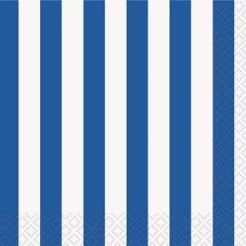 Guardanapos Cocktail Riscas Azul e Branco – 16 Und