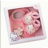 Hello Kitty - Conjunto Babete e Pantufas