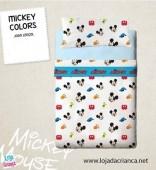 Jogo Cama Lençóis Mickey Colors