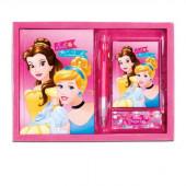 Kit diário+bloco+caneta Princesas Bela e Cinderela