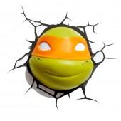 Lâmpada Led de parede 3D Tartarugas Ninja - Miguel Ângelo