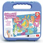 Mala Puzzle 50 peças Sereias Glitter Colouring Activities