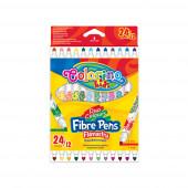 Marcador Fino Duas Cores 12 Pcs / 24 Cores Colorino