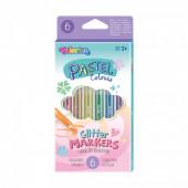 Marcadores 6 Cores Pastel Glitter Colorino