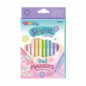 Marcadores Duplo Lado 10 Cores Pastel Colorino