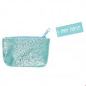 Mini Bolsa com Glitter Turquesa