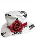 Mini Chapéu Branco com Rosas