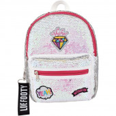 Mochila Casual Footy Loving Diamante Branca 28cm