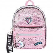 Mochila Casual Footy Loving Diamante Rosa 28cm