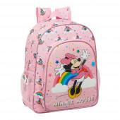 Mochila Escolar 38cm adap trolley Minnie Rainbow