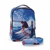 Mochila escolar 43 cm + Porta Lápis 22 cm Wave Ventis