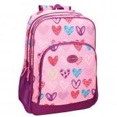Mochila escolar adapt. 44cm Movom - Coração Rosa