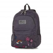 Mochila Escolar CoolPack Hippie Sparkling Badges Cinza 45cm